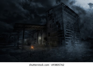 """Abandoned old factory in the night under the moonlight. Title - """"Bonfire"""""""