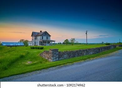 Abandoned Old Farm House at Dusk