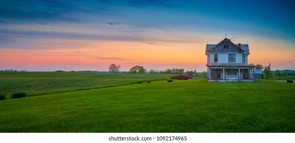 Abandoned Old Farm House at Dusk