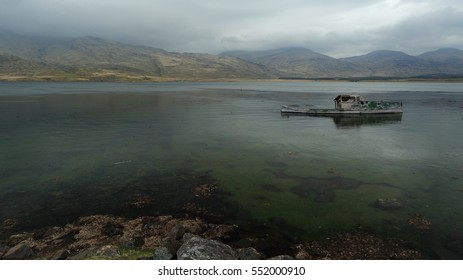 An abandoned, old, fishing boat at low tide by the shores of Loch Scridain, Isle of Mull, Inner Hebrides, Scotland