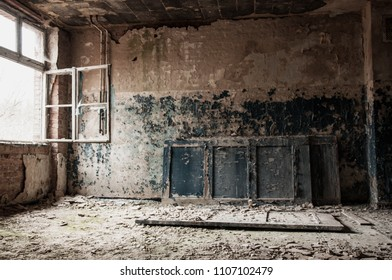abandoned old german psychiatry hospital empty hallway room broken windows and door on floor paint walls - scary haunted asylum old house