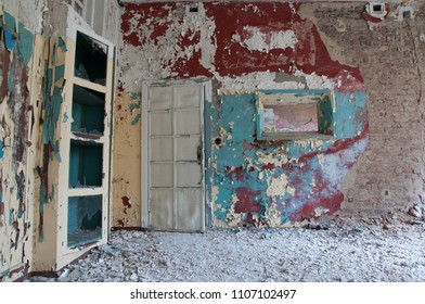 abandoned old german psychiatry hospital empty room hallway broken windows and walls - scary haunted asylum old house