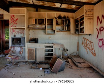 Abandoned old kitchen crumbling in decay