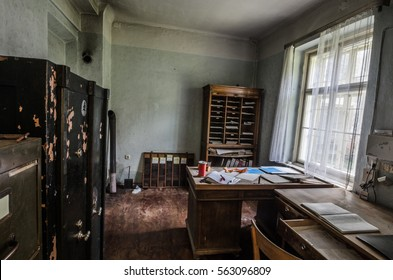 abandoned old office with furniture