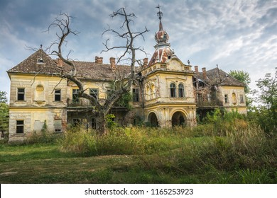 An abandoned old scary castle of Bisingen near city of Vrsac, Serbia