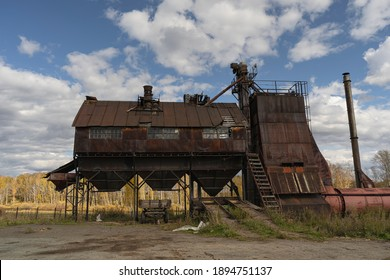 Abandoned old Soviet granary in the village