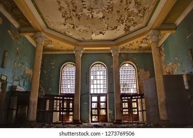 Abandoned overgrown interior of railway station in Gudauta, Abkhazia