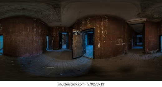Abandoned palace like in a horror movie - Full 360 equirectangular spherical panorama on the street at night. virtual reality content. MINSK/Zeludok/Belarus - winter 2014