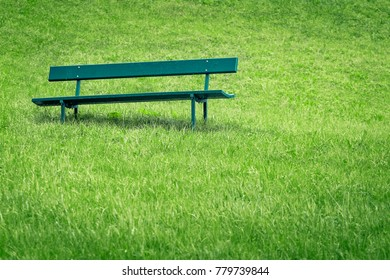 Abandoned park bench in a public garden.