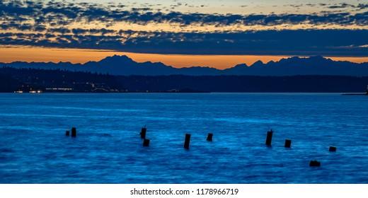 Abandoned pier at Tacoma Washington at twilight