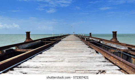 Abandoned Pier at Talaimannar. Old terminus of a ferry service to India across the shallow Palk Bay. Passengers were ferried between Talaimannar and Dhanushkodi by Indo-Lanka Railway service.