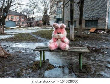 Abandoned pink plush rabbit sits on a bench in a poor residential area at bad weather. Depression theme