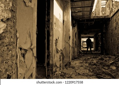 Abandoned place dark man  silhouette