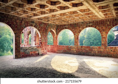 Abandoned place. Destroyed old interior.