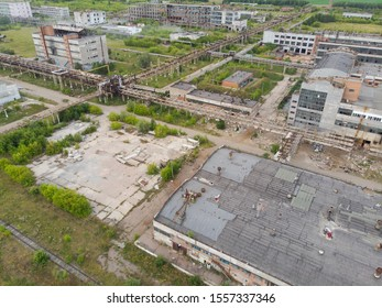 Abandoned plastic factory. Abandoned production halls built in the USSR, abandoned barrels for styrene, abandoned production flyovers.