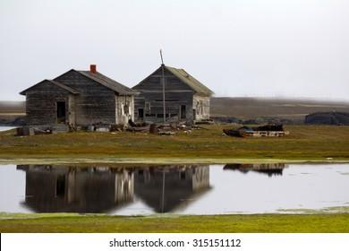 Abandoned polar station. Built in the Kara Strait of Novaya Zemlya archipelago at 1934