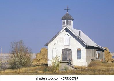 Abandoned prairie church near Badlands South Dakota
