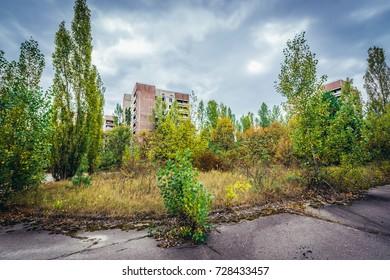 Abandoned Pripyat city in Chernobyl Exclusion Zone, Ukraine