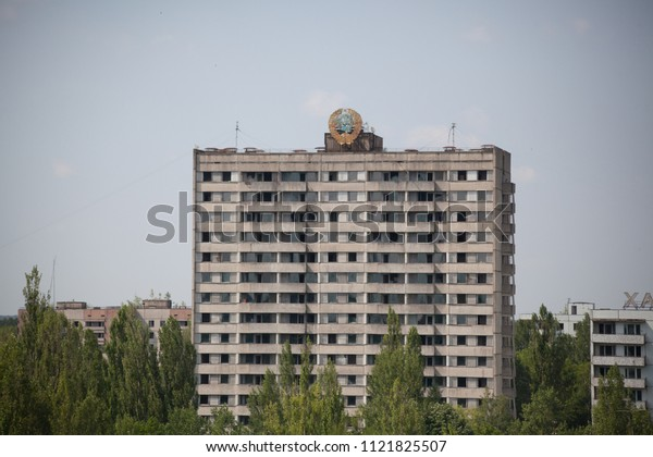 Abandoned Pripyat city in Chernobyl Exclusion Zone, Nuclear Power Station,  Ukraine