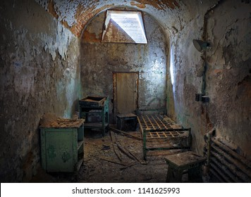 Abandoned prison cell at Eastern State Penitentiary