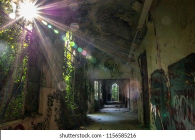 abandoned psychiatric hospital of Mombello. abandoned asylum. concept of fear and horror