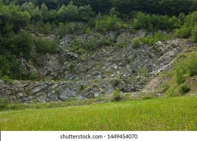 Abandoned quarry near Raztoka in Beskydy in Czech republic