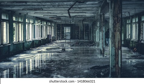 Abandoned radioactive hall in school in Pripyat in Chernobyl Exclusion Zone