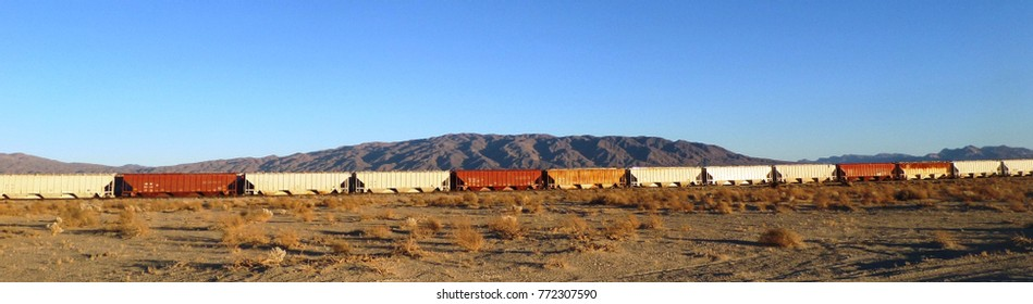 Abandoned rail road train in the desert, California
