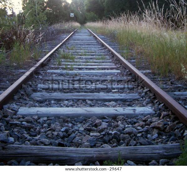 An abandoned railroad track
