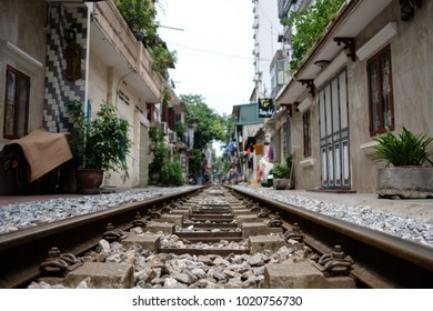 Abandoned railroad tracks in Hanoi, Vietnam.