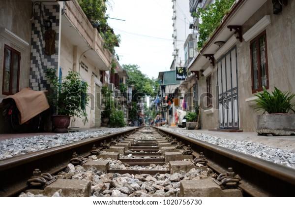 Abandoned railroad tracks in Hanoi, Vietnam.