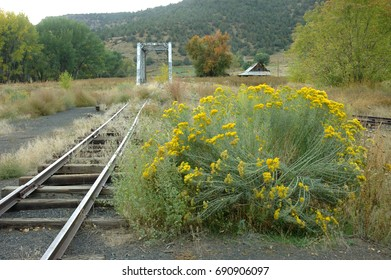 The abandoned railroad tracks at Pagosa Junction, Colorado.