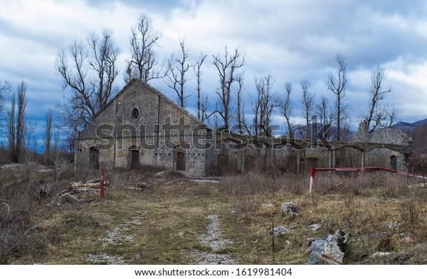 Abandoned railway hangar ruins in Lika, Croatia