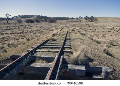 Abandoned Railway lines in the Snowy Mountain area of New South Wales, near Bombala. Country side with spares vegetation. Bombala, NSW, Australia, October 2017