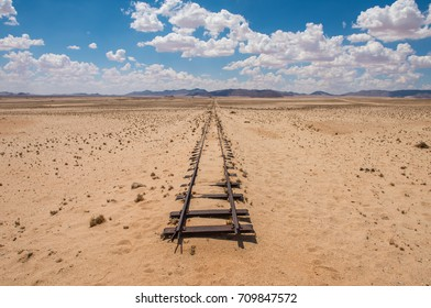 Abandoned railway tracks in the desert, Namibia