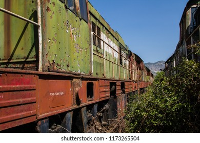Abandoned railway train yard is a lost place in the country side of Albania in Europe