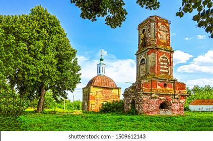 Abandoned red brick church view. Russian abandoned church ruins. Church ruins view. Rural abandoned brick church