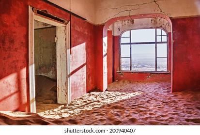 abandoned red room in Namibia desert