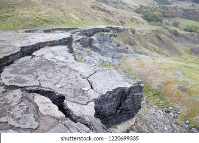 An abandoned road due to subsidence in Derbyshire, United Kingdom