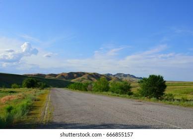 Abandoned road landscapes Almaty Taldykurgan - Shutterstock ID 666855157