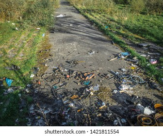 Abandoned road on brownfield land, formerly a housing estate, now a wilderness subject to sporadic fly tipping, Birkenhead, Merseyside, UK.