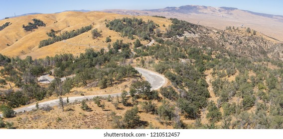 Abandoned road winds through hilly California woodland near the central Valley.