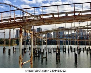 Abandoned roller coaster Shenzhen China Honey Lake