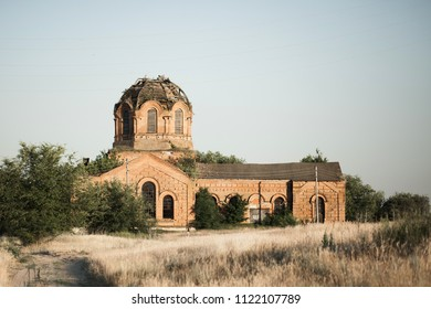 Abandoned ruined Church front view
