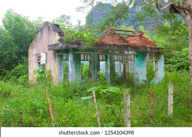 Abandoned ruined house overgrown by plants in jungle forest, Phong Nha, Vietnam