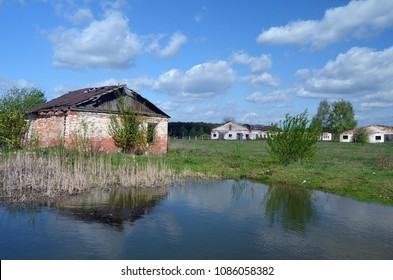Abandoned ruined milk farm in 1 kilometer near Chernobyl area border