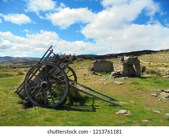 abandoned ruins of Bendigo Ghost town, former gold mining settlement in Central Otago, New Zealand