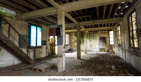 Abandoned, ruins factory and office interior with bright light. Near Rennes-city, Brittany, France