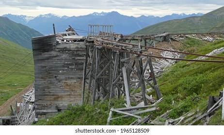 Abandoned ruins of historic gold mine, Independence Mine, Talkeetna Mountains, Alaska, United States