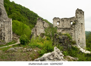 The abandoned ruins (leftovers) of the old military fort (castle) in the picturesque green mountain valley near Samobor, a small historic city on the border of Slovenia and Croatia